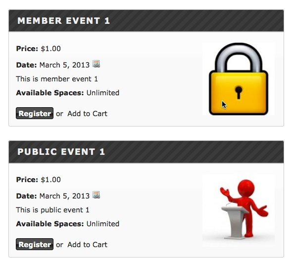 Member Only and Public Events