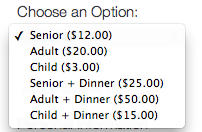 Multiple Ticket Options
