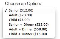 Multiple Ticket Options