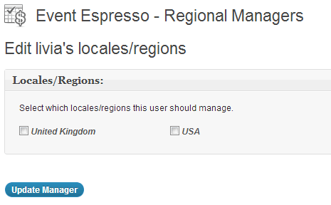 Regional managers edit screen