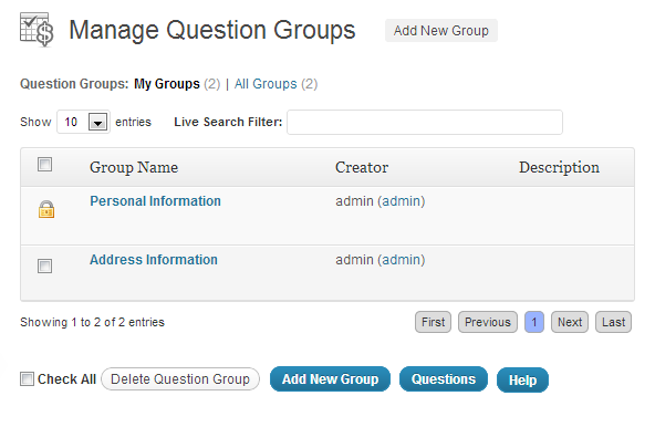 menu guide - question groups - manage question groups