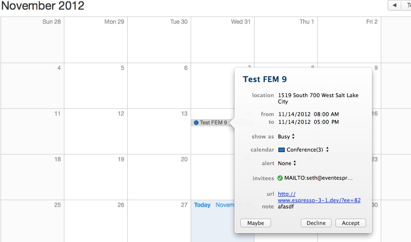 iCal Example