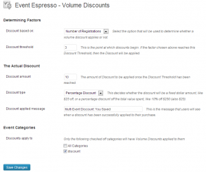 Volume Discount settings when using number of registrants