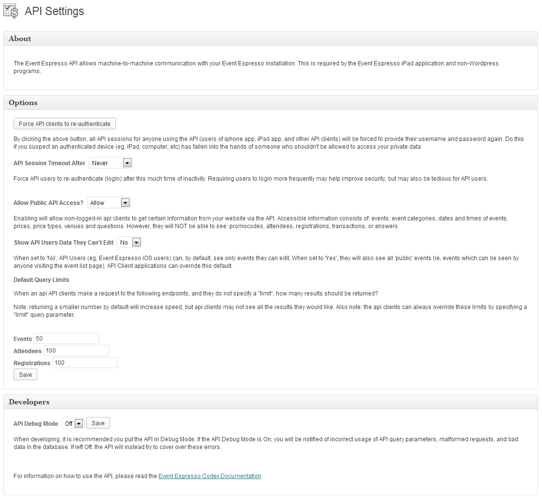 Espresso JSON API Add-on - WordPress Event Registration