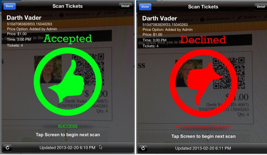 Scanned Ticket Examples