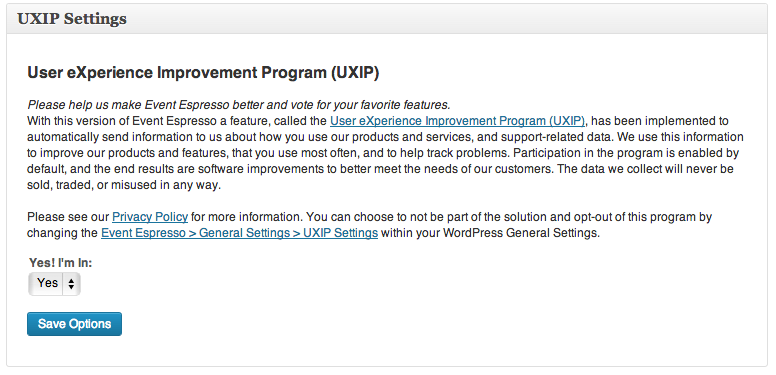 User eXperience Improvement Program (IUIXP) Settings