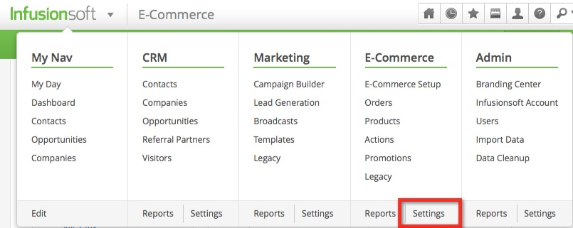 infusionsoft-menu-ecommerce-settings