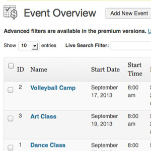 WordPress Event Listing Page