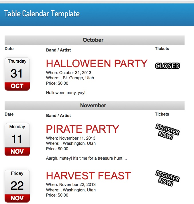 Events Calendar Table Template  Event Espresso  Wordpress Event