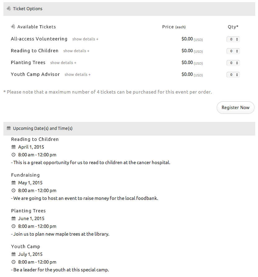 Multiple events registration datetime tickets wordpress one page