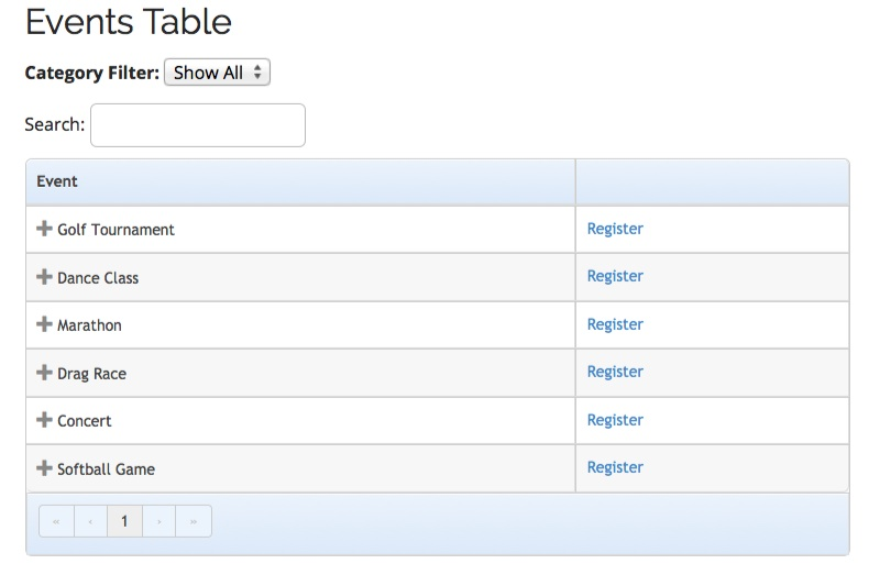 Ee4 Events Table View Template Event Espresso