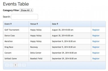 EE4 Events Table View Template