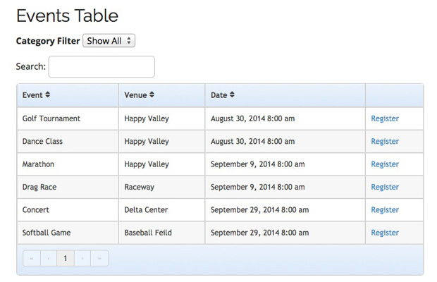 Events Table View Template Add-On - Event Espresso - Wordpress