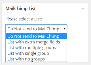 Choose a list in MailChimp through the event editor