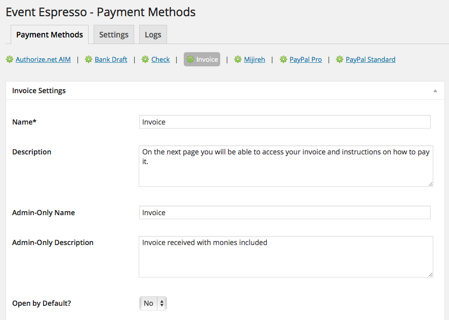 Event Espresso 4 Invoice Payment Method  Check Invoice