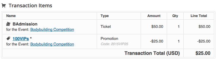 event promotions discounts transaction details
