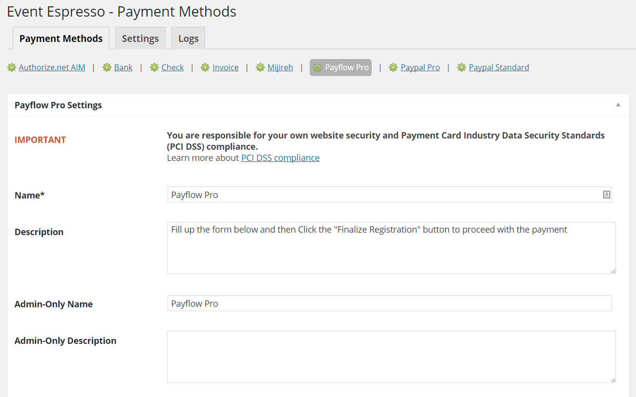 Payflow Pro payment gateway help & documentation - Event Espresso
