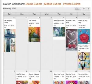 paint & wine party calendar