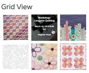 Grid view of quilt retreat events