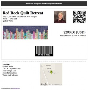 customizable quilt retreat ticket