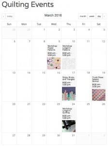 Calendar of quilting events