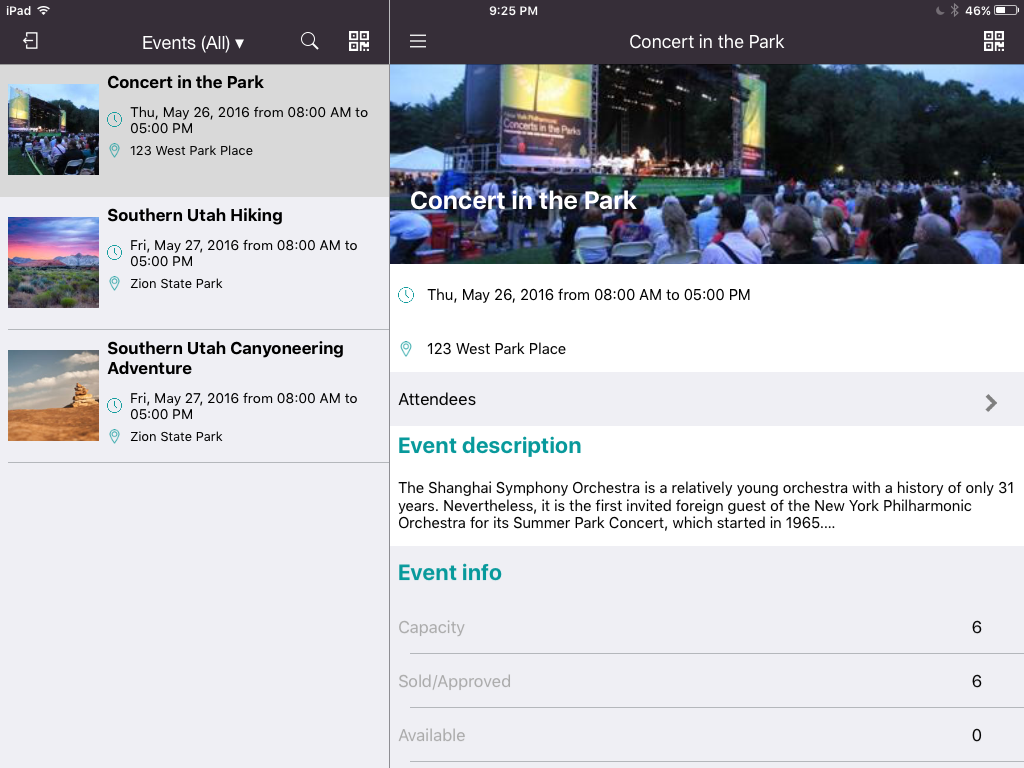Event Overview - iPad - Check-in & Ticket Scanning Apps