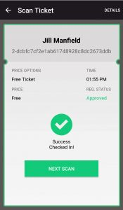 event app - successful ticket scan screen