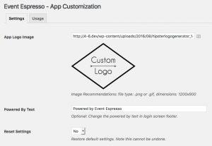 event app customization settings
