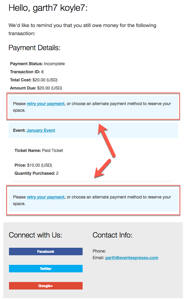 default payment reminder message template