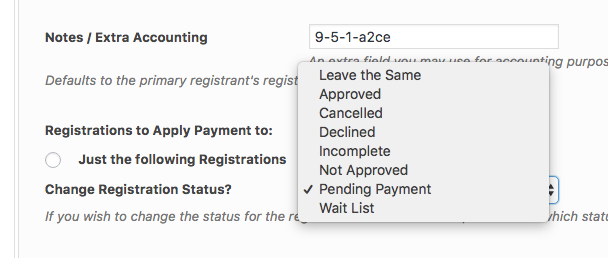 registration pending payment