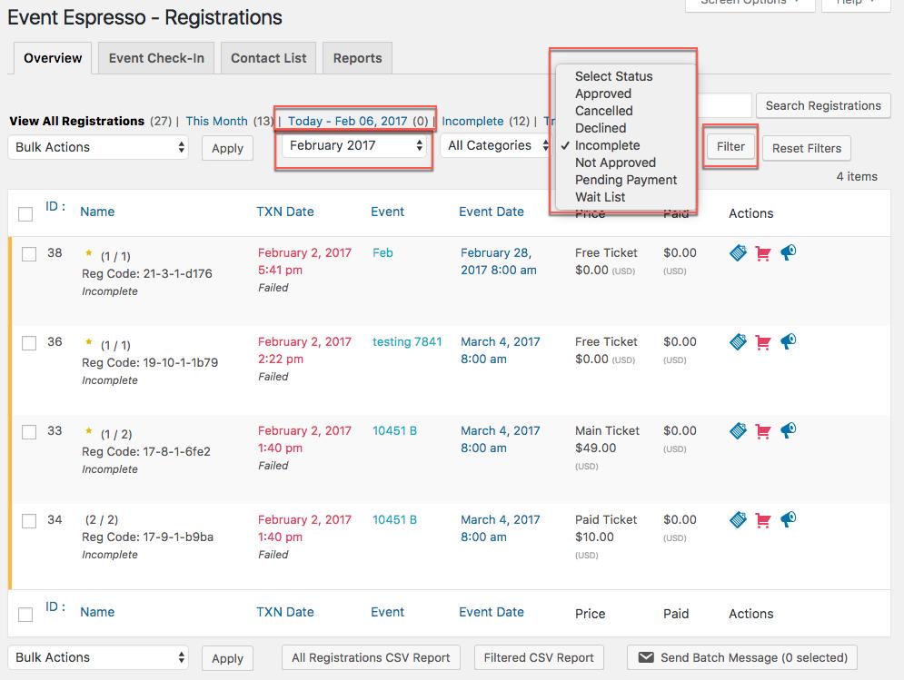 filter event registrations