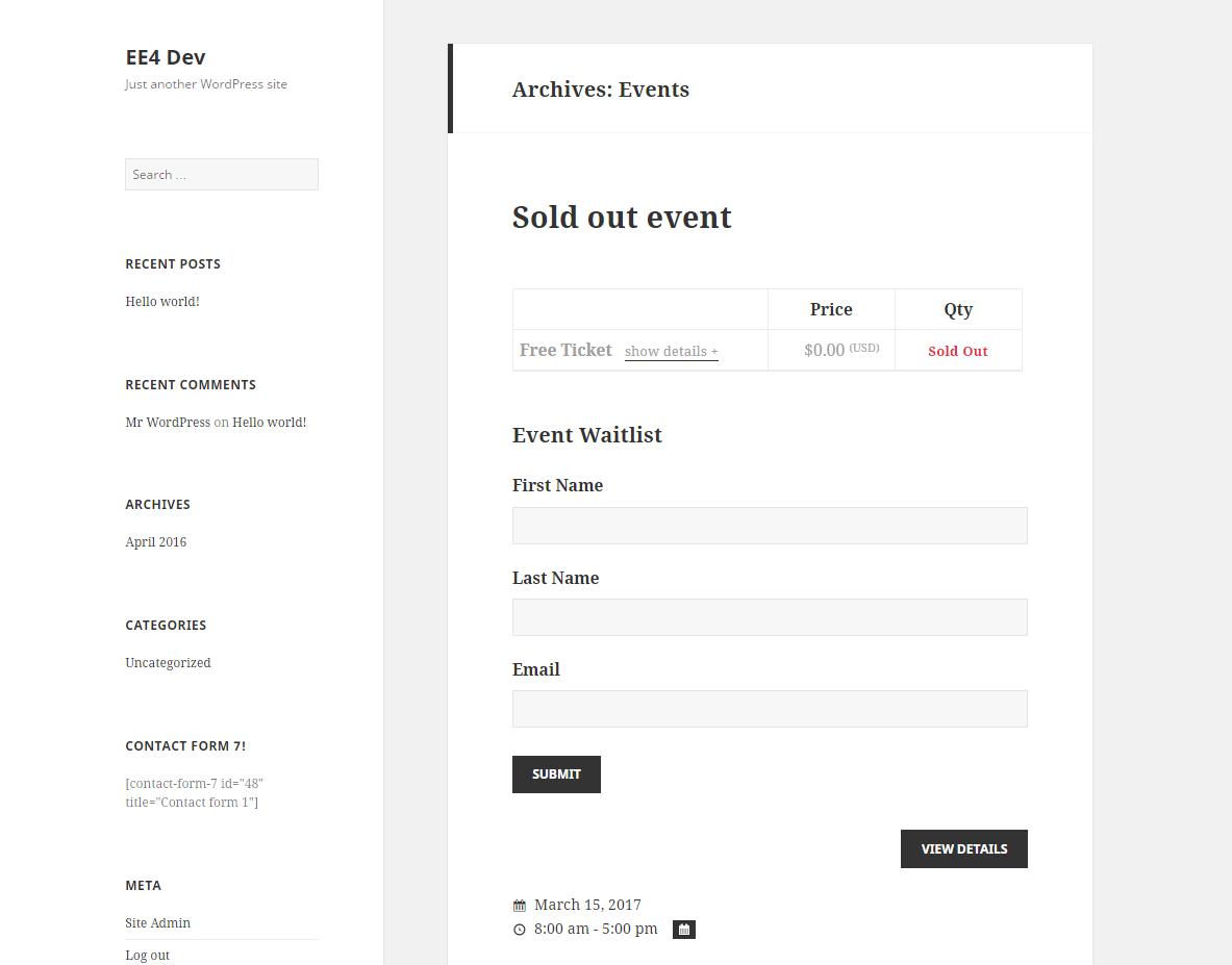 Using Ninja Forms to create wait lists for your events
