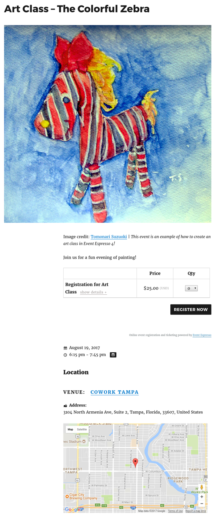An example of an art class with Event Espresso and WordPress