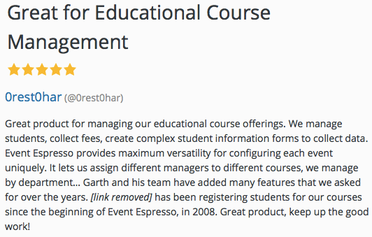 Great product for managing our educational course offerings