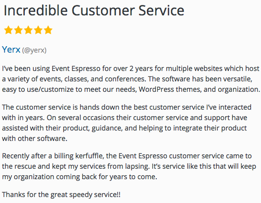 An example of a class with Event Espresso and WordPress