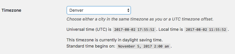WordPress Time Zone Settings Events