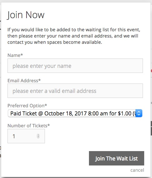 Wait lists sign up form for WordPress