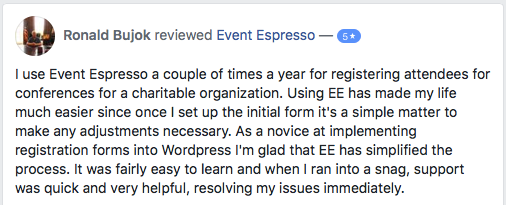 I use Event Espresso a couple of times a year to register attendees for conferences for a charitable organization.