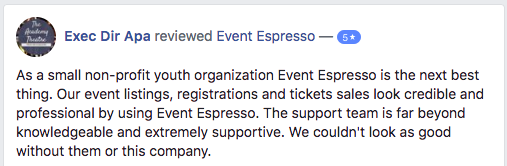 Our event listings, registrations, and tickets look credible and professional by using Event Espresso.