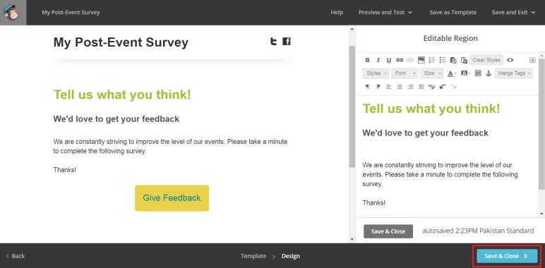 MailChimp's built-in campaign builder