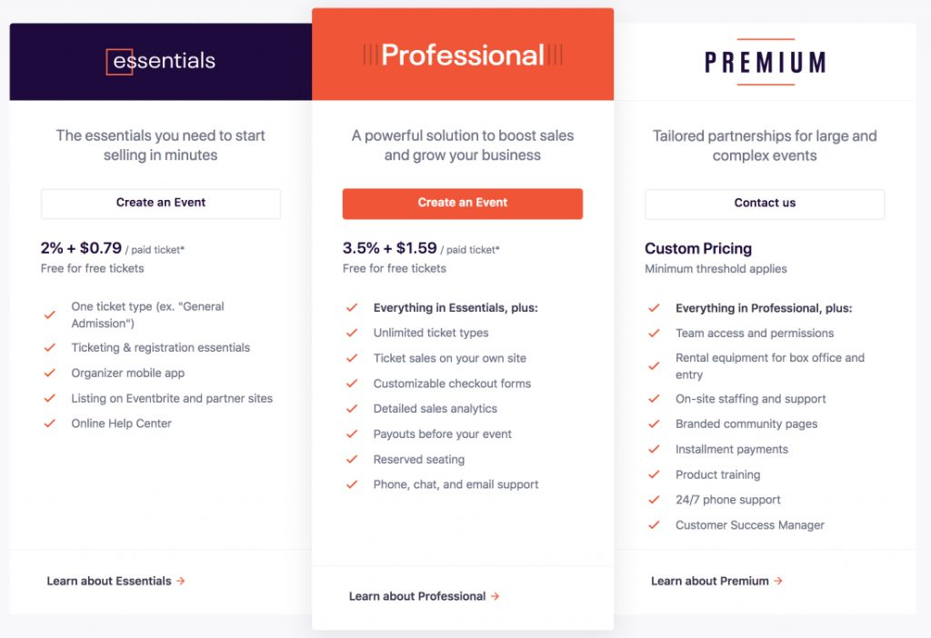 Eventbrite pricing page