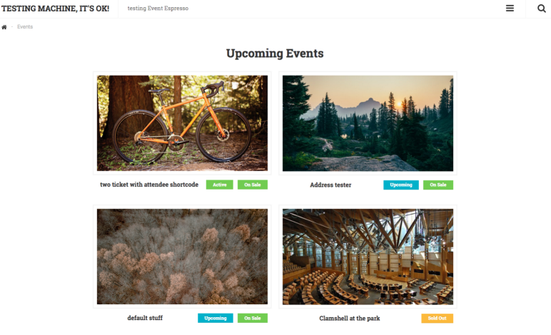 Extant Theme in use with Event Espresso