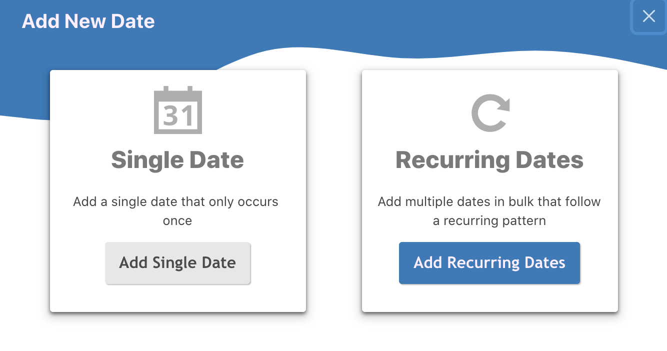 Add a Recurring Event or a Single Date